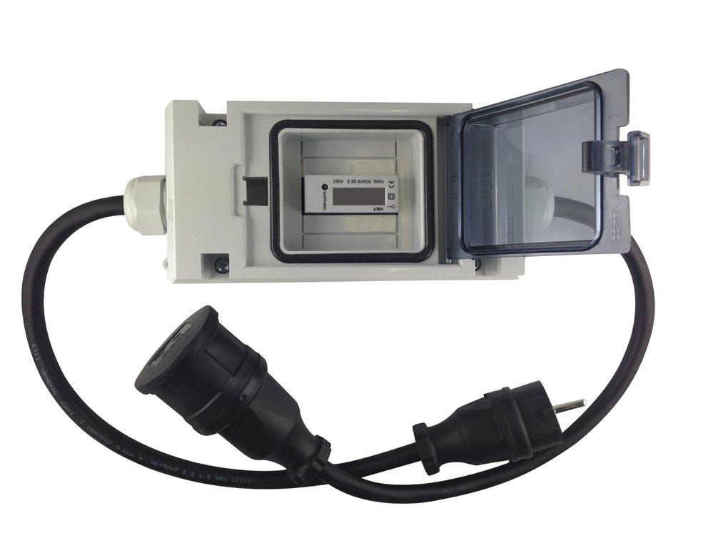 Zwischenzähler Adapter 16A CEE mit Rollenzählwerk-Zähler und FI